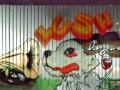 huge graffiti piece dog gramophone oldskool lush mural