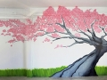 Sakura tree painting Bangkok office vinni kiniki