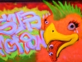 uv reactive black light painting art neon glow bird mohawk graffiti