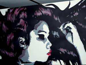 Stencil art portrait canvas Thai Model Amy Dynamite