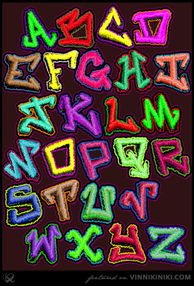 Colourful fluffy graffiti font by artist Vinni Kiniki