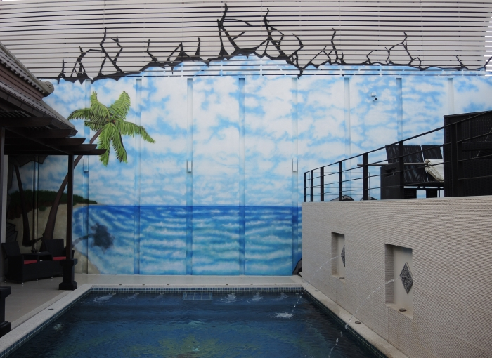 tropical beach graffiti mural
