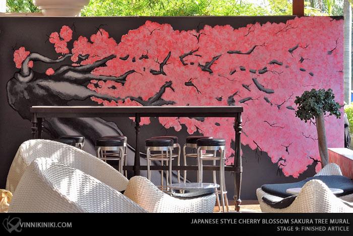 Japanese Sakura tree mural