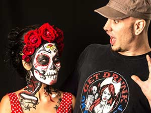 Vinni Kiniki sugar skull face painting modeling shoot for Thai Alt Model Rogue Seraphim