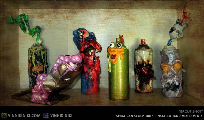 Group photo spray can sculptures made by artist Vinni Kiniki
