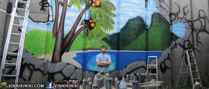 tropical beach mural graffiti in progress