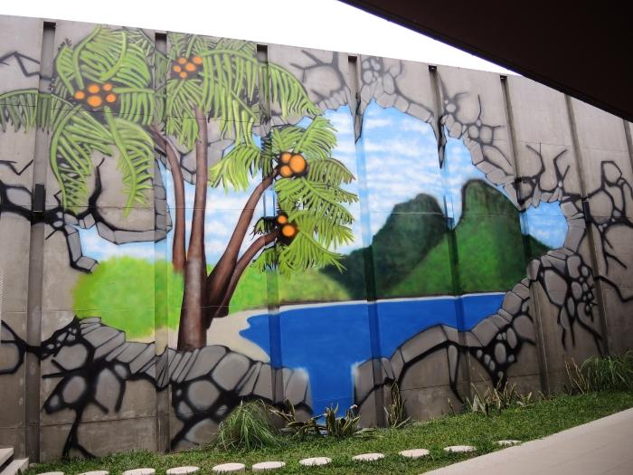 tropical beach graffiti mural