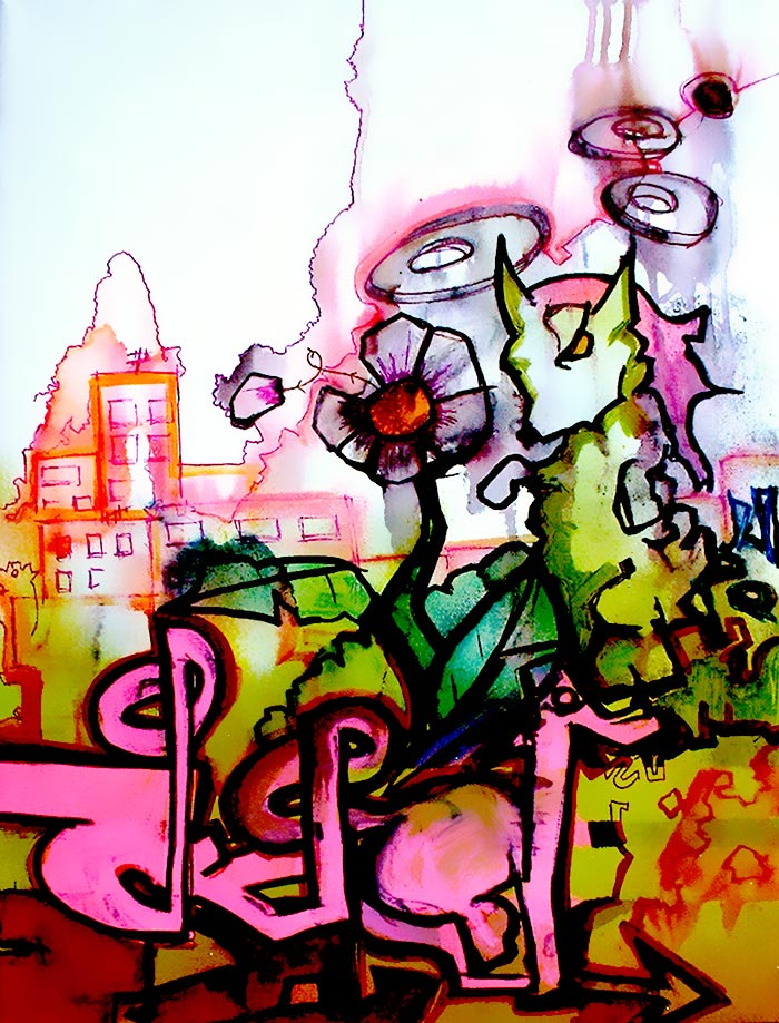 Aliens invade mixed media canvas art piece