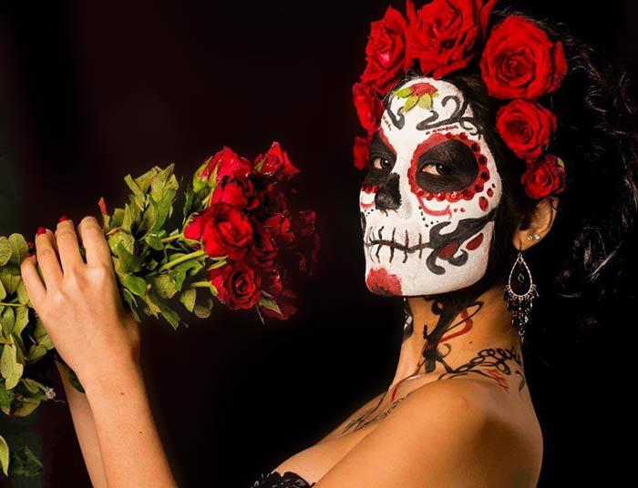 Sugar skull face paint art MUA with Thai model