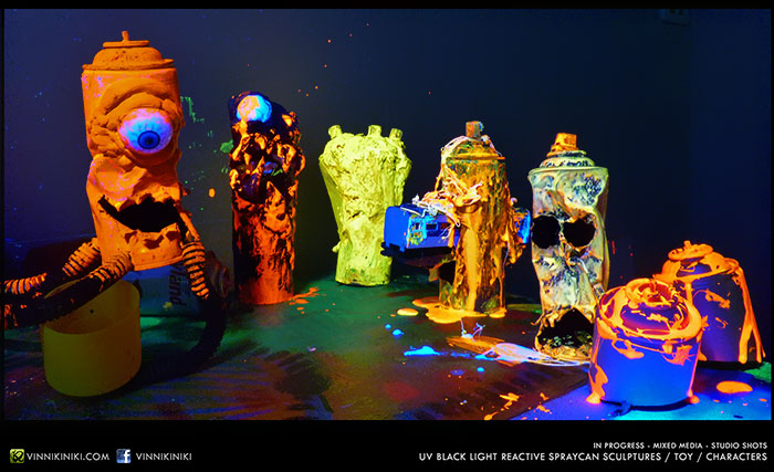 UV reactive spray can art toys
