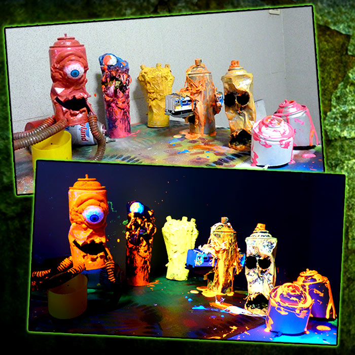 Black light art sculpture
